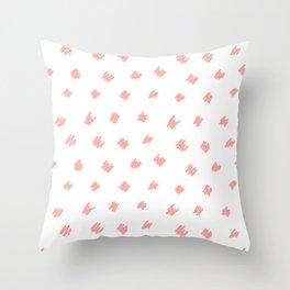 Squiggle Peach White Throw Pillow