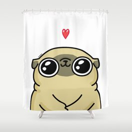Mochi the pug loves you Shower Curtain