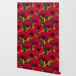 Red poppy garden    Wallpaper
