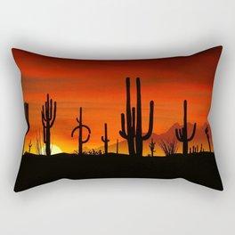 Illustration of cactus tree when the sunset Rectangular Pillow