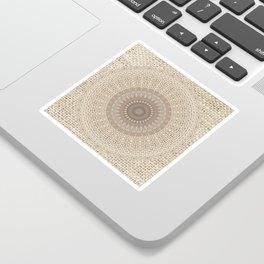 Unique Texture Taupe Burlap Mandala Design Sticker
