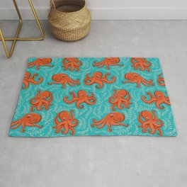 Fun orange octopus on turquoise background. Rug