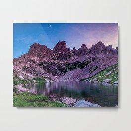 Purple Mountain Lake // Rocky Peak Crescent Moon Incredible Colorful Sunset Beauty Metal Print