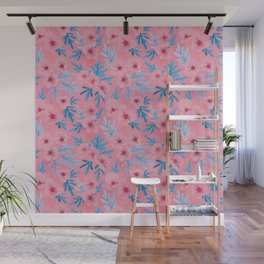 Summer Blooms | Pink and Blue Wall Mural