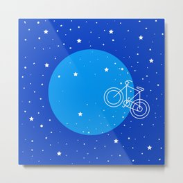 Night Sky Moon Bike  Metal Print