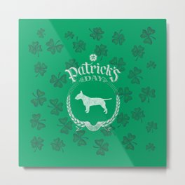 St. Patrick's Day Bull Terrier Funny Gifts for Dog Lovers Metal Print