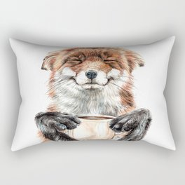 """"""" Morning fox """" Red fox with her morning coffee Rectangular Pillow"""