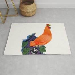 Retro Rooster and Coo-Coo Clock Rug
