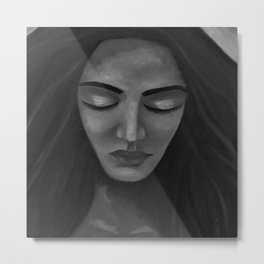 On My Mind by Lu, black-and-white Metal Print