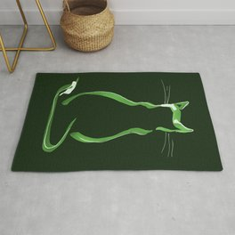 Sitting Cat from behind in Green Rug