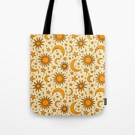 Vintage Sun and Star Print Tote Bag