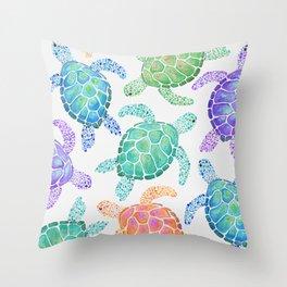 Sea Turtle - Colour Throw Pillow
