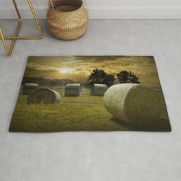 Farm Field with Hay Bales at Sunrise in West Michigan Rug