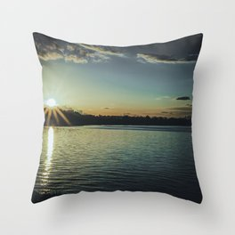 Sundown At Lake Heve 3 dark Throw Pillow