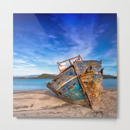 Washed up Boat Metal Print