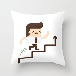 Happy Employee Climbing On The Corporate Ladder Throw Pillow