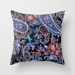 Lavender Rose Paisley Throw Pillow