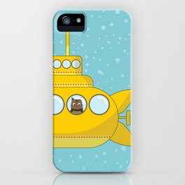 Yellow submarine with a cat and bubbles iPhone Case