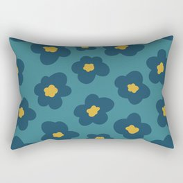 poppy in blue and gold on teal green Rectangular Pillow