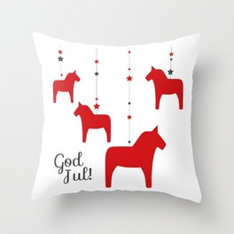 God jul - Dala style Throw Pillow
