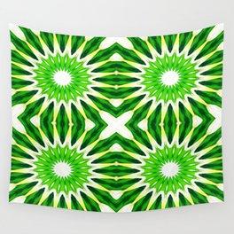 Serene Green Pinwheel Flowers Wall Tapestry