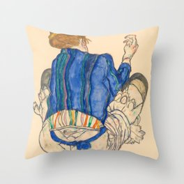 "Egon Schiele ""Seated Woman, Back View"" Throw Pillow"