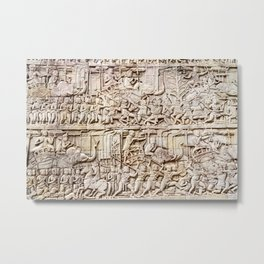 Bas relief depicting a battle, Bayon Buddhist temple at Angkor Thom, Siem Reap, Cambodia Metal Print