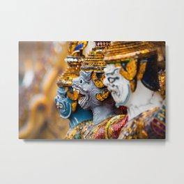 Yaksha guardians at the Grand Palace or Wat Phra Kaew, Bangkok, Thailand. A beautiful fine art photography of my wanderlust in south east Asia. Metal Print