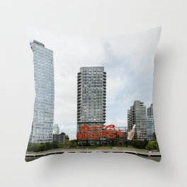 Cola sign in New York City Throw Pillow