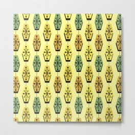 Mid Century Modern Hexagons Lemon Yellow Metal Print