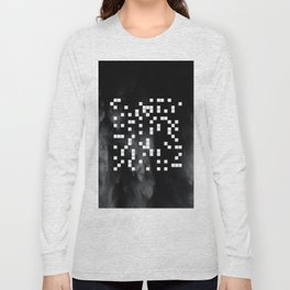 The Digital Void - Black and white abstract art Long Sleeve T-shirt