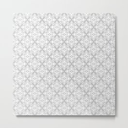 Damask (White & Gray Pattern) Metal Print