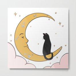 Black Cat on the Moon Metal Print