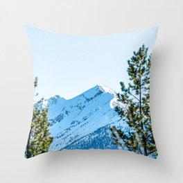 Through the Trees // Snowy High Mountain Pass Alpine Adventure Crisp Blue Sky Throw Pillow