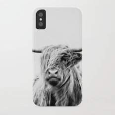 portrait of a highland cow iPhone X Slim Case