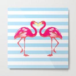 Flamingo poster, t-shirt, Watercolor, pink in blue stripes Metal Print