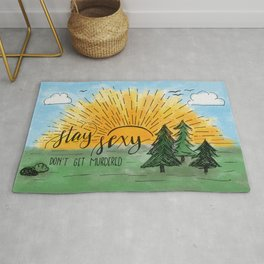 Stay Sexy, Don't Get Murdered Watercolor Rug
