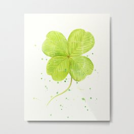 Watercolor 4 leaf Clover Metal Print