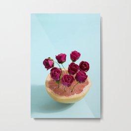 Grapefruit and red roses Metal Print