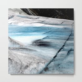 Breathtaking Alaskan Glacier Crevices in Turquoise Blue Ice Metal Print