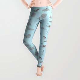 Seaside Town Toile Pattern (Light Blue and Brown) Leggings