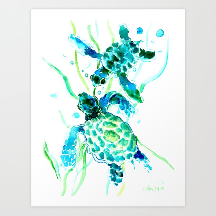Sea Turtles, Turquoise blue Design Kunstdrucke