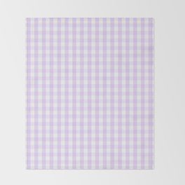 Chalky Pale Lilac Pastel and White Gingham Check Plaid Throw Blanket