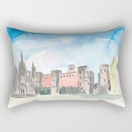 Barcelona Roman Gate Walls Cathedral At Placa Nova Rectangular Pillow