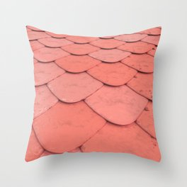 Pattern of red rounded roof tiles Throw Pillow