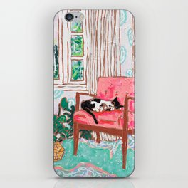Little Naps - Tuxedo Cat Napping in a Pink Mid-Century Chair by the Window iPhone Skin