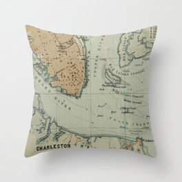 Vintage Map of Charleston SC Harbor (1904) Throw Pillow