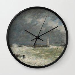 Eugène Boudin - Entrée des jetées du Havre par gros temps Wall Clock