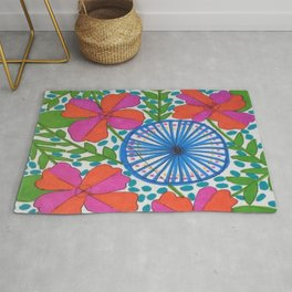Flowers and Pinwheels Jungle Print Rug