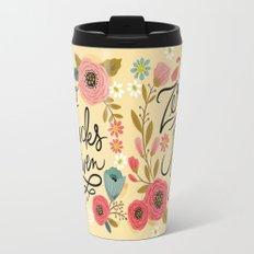 Pretty Sweary: Zero Fucks Given, in Yellow Travel Mug